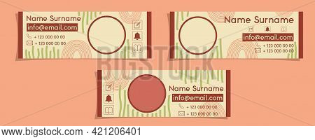 Email Signature Template Design In A Minimalistic Boho Style. Abstract Pattern With Rainbows And Str
