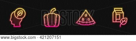 Set Line Watermelon, Human Head With Leaf Inside, Bell Pepper And Vegan Milk. Glowing Neon Icon. Vec