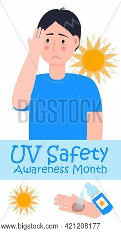 Uv Safety Awareness Month Concept Vector. Healthcare, Medical Event
