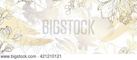 Luxurious Golden Wallpaper. White Background. Gold Leaves Wall Art With Shiny Golden Light Texture.