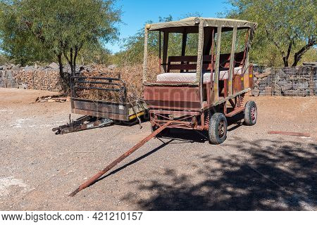 Beaufort West, South Africa - April 3, 2021: Two Trailers At Steenbokkie Nature Reserve Near Beaufor