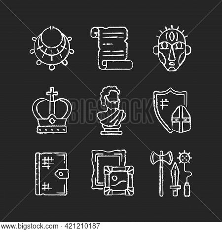 Museum Exhibitions Chalk White Icons Set On Black Background. Ancient Jewelry. Historical Manuscript