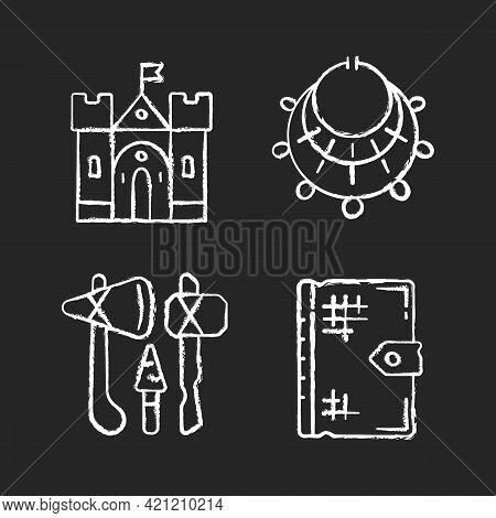 Antiquities Excavation Chalk White Icons Set On Black Background. Medieval Castle. Excavated Treasur