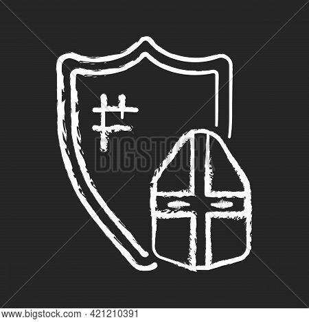 Knight Armor Chalk White Icon On Black Background. Medieval Knight Suit. Middle Ages. Helmet, Shield