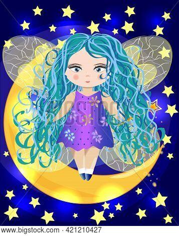 Fairy Sitting On A Moon. Beauty Fairy Girl