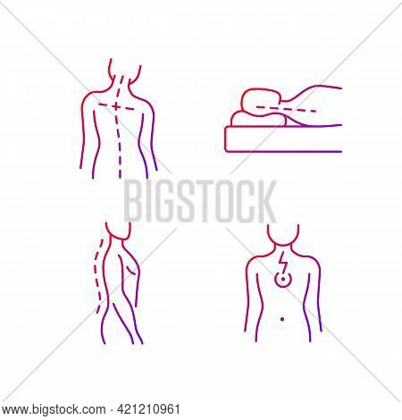Postural Dysfunction Gradient Linear Vector Icons Set. Head Tilt. Incorrect Sleeping Position. Norma