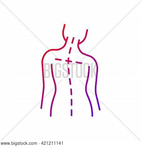 Uneven Shoulders Gradient Linear Vector Icon. Postural Change. Difficulty Walking. Asymmetrical Alig