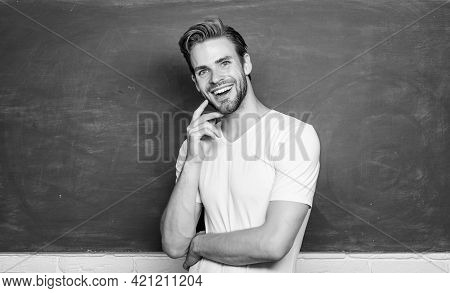 Master Of Simplification. Man Teacher In Front Of Chalkboard. Back To School. Advantages For Male El