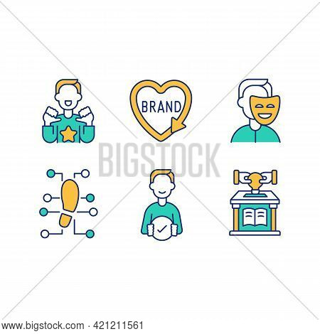 Personal Branding Green, Orange Rgb Color Icons Set. Media Influence. Personal Brand Modification. O