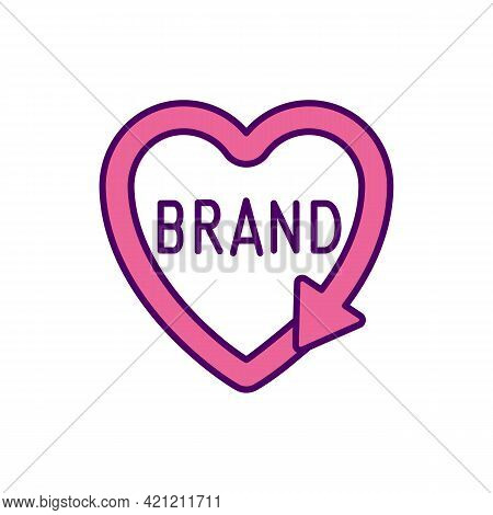 Personal Brand Pink Rgb Color Icon. Heart With Arrow. Corporate Identity Awareness. Social Media Inf