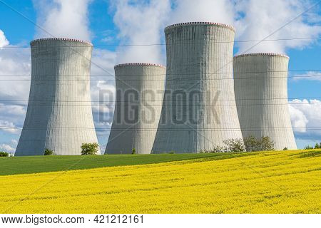 Nuclear Power Station. Cooling Towers Of A Nuclear Power Plant In Beautiful Summer Landscape. Nuclea