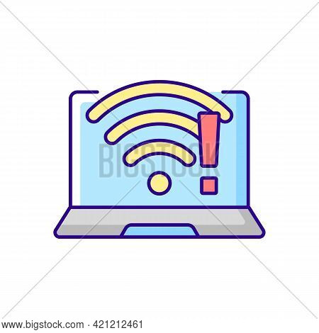Wi Fi Does Not Work Rgb Color Icon. Wireless Connection Issue, Weak Signal. No Internet. Fix Wifi. S