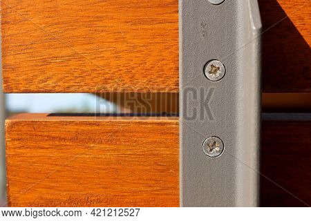 The Metal Base Is Attached With Self-tapping Screws To A Wooden Rail. Reliable And Stable Constructi