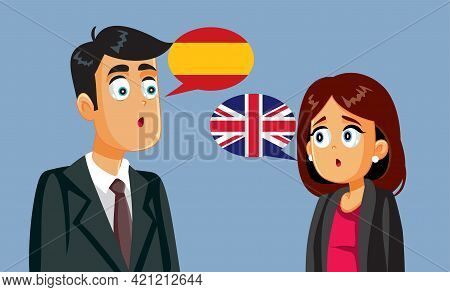 Businessman And Businesswoman Trying To Negotiate In Different Languages