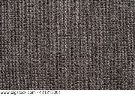 Dark Grey Rustic Textile Organic Linen Background. Fabrics Texture. Ecological Modern Cloth. Texture