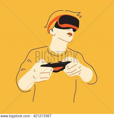 Gamer. Young Man Playing Game, Virtual Reality, Vrglasses. Flat Illustration.