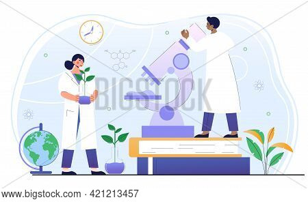 Male And Female Scientists Working On Ecological Chemistry In Lab Together. Concept Of Green, Sustai