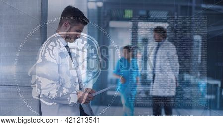Composition of human brain and medical data processing over smiling male doctor using tablet. medicine, digital interface and data processing concept digitally generated image.