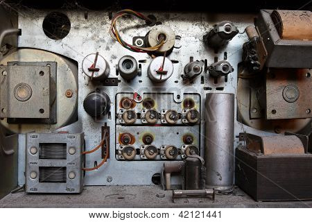 Inside of an old radio set