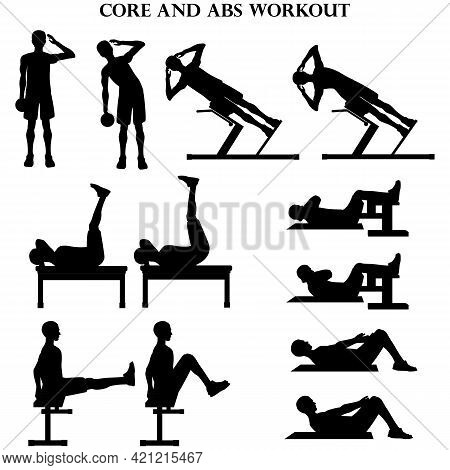 Workout Man Set. Core And Abs Workout Illustration Silhouette On The White Background. Vector Illust