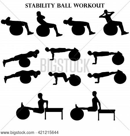 Workout Man Set. Stability Ball Workout Illustration Silhouette On The White Background. Vector Illu