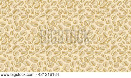 Oat Flakes Porridge Seamless Pattern On Beige Background. Vector Hand Drawn Illustration