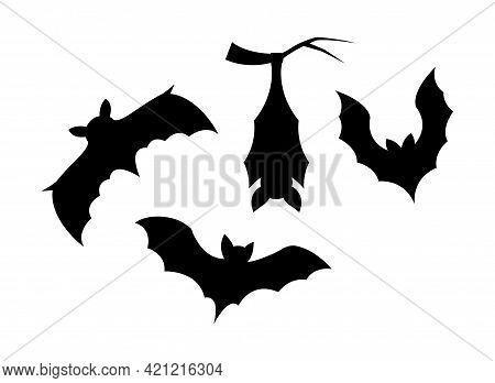 Set Of Black Halloween Holiday Silhouette Elements Of Bats Isolated On White Background. Black Creep