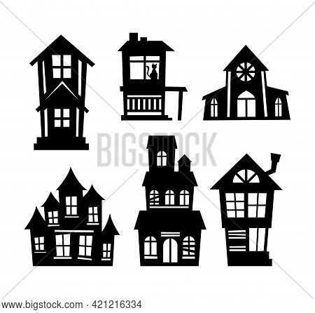 Cartoon Set Of Black Halloween Holiday Silhouette Elements Of Spooky Houses Isolated On White Backgr