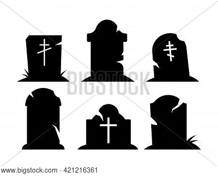 Set Of Black Halloween Holiday Silhouette Elements Of Spooky Graves On White Background. Black Crook