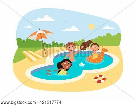 Happy Little Children Swimming In The Pool On Holiday Together. Little Smiling Kids Enjoing Time Spe