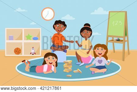 Happy Cute Kids Playing With Different Toys And Cubes In Kindergarten. Smiling Boys And Girls Spendi