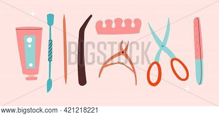 Sticker Of Female Manicure Equipment On Pink Background. Concept Of Lady Painting, Polishing Nails.