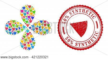Circle Sector Multicolored Rotation Twist, And Red Round 50 Percent Synthetic Grunge Stamp. Circle S