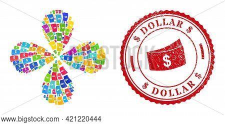 Dollar Bills Colorful Rotation Spin, And Red Round Dollar Unclean Stamp Print. Dollar Bills Symbol I