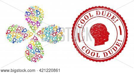 Male Symbol Multi Colored Exploding Flower Shape, And Red Round Cool Dude Exciting. Scratched Rubber