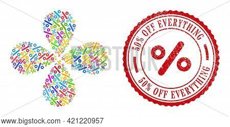Percent Colored Curl Bang, And Red Round 50 Percent Off Everything Dirty Stamp Print. Percent Symbol