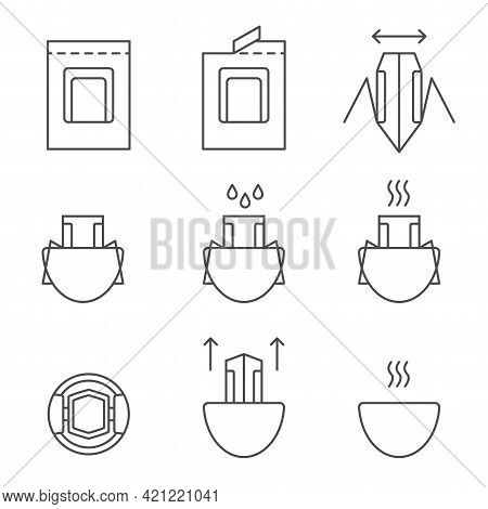 Drip Coffee Bag For Easy Brewing In A Cup. Set Of Vector Icons, Black Isolated Illustration On White