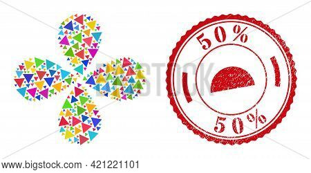 Triangle Colorful Twirl Flower Cluster, And Red Round 50 Percent Unclean Stamp Seal. Triangle Symbol