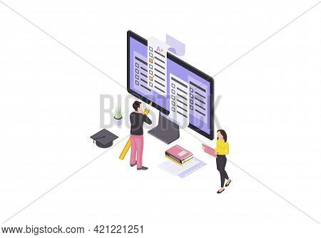 Online Test Isometric Color Vector Illustration. Student Examination, Homework, Questionnaire Infogr