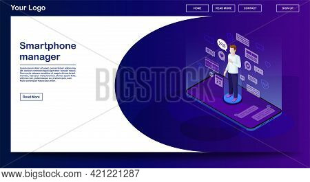 Smartphone Manager Webpage Vector Template With Isometric Illustration. Website Interface Design. So
