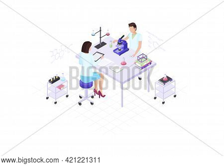 Scientists, Chemists, Biologists, Research Workers Isometric Color Vector Illustration. People Doing