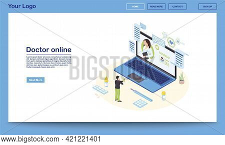 Doctor Online Service Isometric Landing Page Template. 3d Physician Consulting Patient, Prescribing