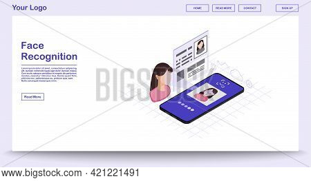 Faceprint Analysis Webpage Vector Template With Isometric Illustration. Face Recognition. Biometric
