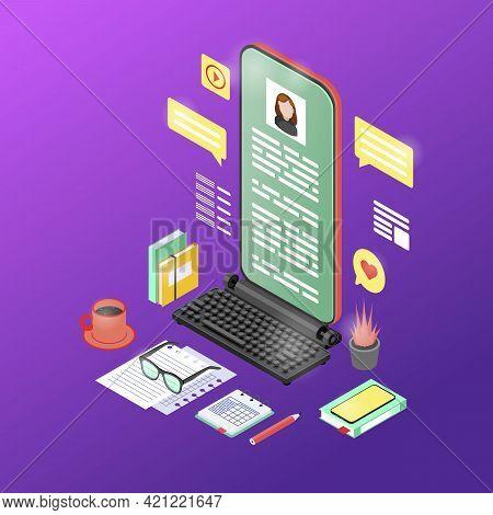 Mobile Marketing Content Isometric Vector Illustration. Copywriting, Storytelling 3d Concept. Copywr