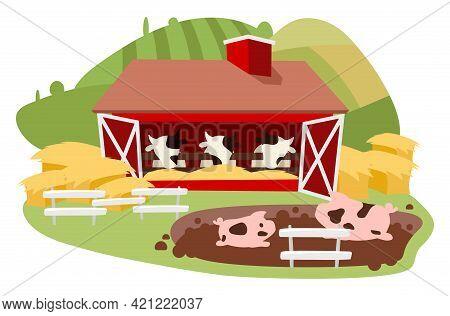Livestock And Cattle Farming Flat Vector Illustration. Dairy Farm Isolated Cartoon Concept. Cows Bar