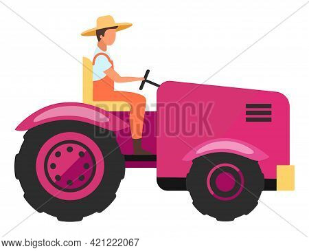 Agricultural Machinery Flat Vector Illustration. Farm Worker Driving Agriculture Mini Tractor Cartoo
