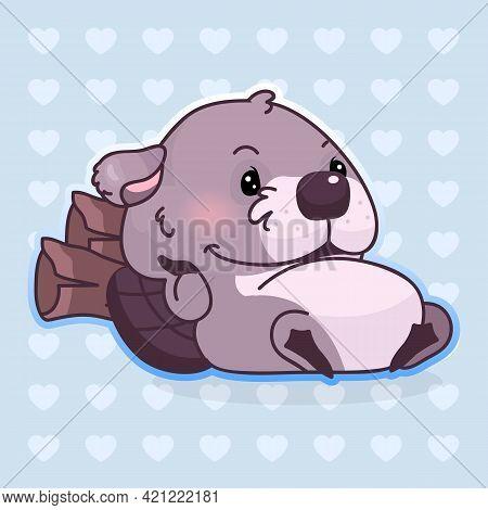 Cute Beaver Kawaii Cartoon Vector Character. Adorable, Happy And Funny Animal Resting On Wood Logs I