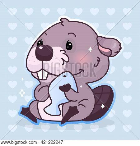 Cute Beaver Kawaii Cartoon Vector Character. Adorable, Happy And Funny Animal Hugging Fish Isolated