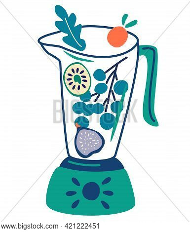 Blender With Fruits. Smoothies In Blenders And Glass Jars With Different Ingredients. Food Processor