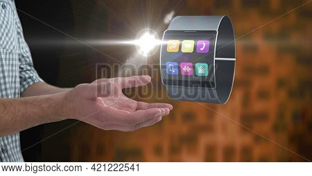 Composition of electronic band with digital icons over man's hands. global communication, technology and digital interface concept digitally generated image.